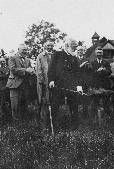 Sparling cutting the first sod 1928